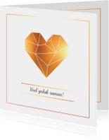 Felicitatie - Origami hart goud