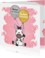 Felicitatie roze kaartje met een illustratie van een zebra
