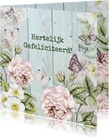 Felicitatiekaarten - Felicitatie rozen vintage