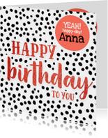Felicitatie - stippen met naam happy birthday