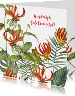 Felicitatiekaarten - Felicitatie tropische bloemen