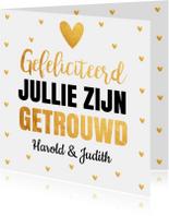Felicitatie trouwdag typografie gouden hartjes