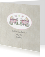 Felicitatiekaarten - felicitatie tweelingmeisje lief
