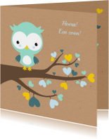 Felicitatiekaarten - Felicitatie - Uiltje in hartjesboom jongen