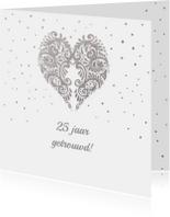 Felicitatiekaarten - Felicitatie zilver hart