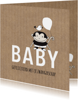 Felicitatiekaarten - Felicitatie zwanger aapje met ballon Kraft - MW