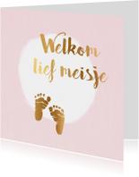 Felicitatiekaarten - felicitatiekaart geboorte meisje met voetjes