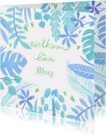 Felicitatiekaarten - Felicitatiekaart geboorte planten blauw