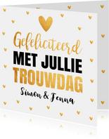 Felicitatiekaart goud typografie