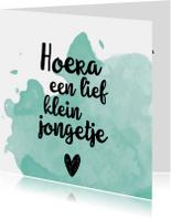 Felicitatiekaarten - Felicitatiekaart 'Hoera een lief klein jongetje'