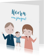Felicitatiekaarten - Felicitatiekaart jongen Ouders & Wiegje