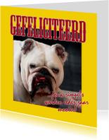 Felicitatiekaart met rimpelige bulldog