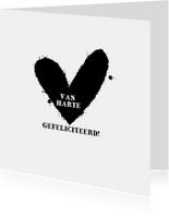 Verjaardagskaarten - Felicitatiekaart Zwart Wit Hart
