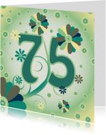 Verjaardagskaarten - flowerpower2 75 jaar