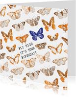 Verjaardagskaarten - Fly High It's your birthday! verjaardagskaart met vlinders