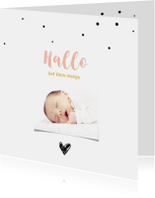 Foto geboortekaartje met stipjes en hart