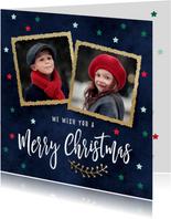 Kerstkaarten - Foto kerstkaart gouden kaders twee fotos