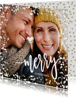 Foto kerstkaart sneeuw confetti en gouden sterretjes
