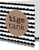 Fryske kaart zwart wit kraft 'Tige tank'