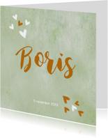 Geboortekaartjes - Geboorte aquarel gemeleerd hartjes
