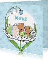 Geboortekaartjes - Geboorte baby Nout en beer IH