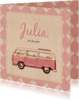 Geboorte busje roze retro patroon - BK