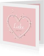 Geboortekaartjes - Geboorte - Harten met confetti
