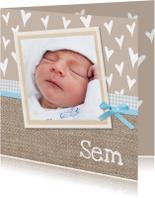 Geboortekaartjes - Geboorte jongen op jute