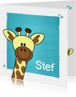Geboorte kaartje met lief girafje voor een jongen