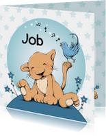 Geboortekaartjes - Geboorte leeuw met vogel - IH