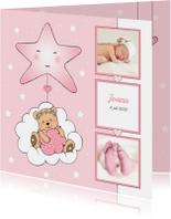 Geboortekaartjes - Geboorte meisje beer in wolk IH