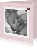 Geboorte -Meisje, hartje en foto