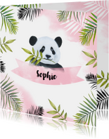 Geboortekaartjes - Geboorte meisje pandabeertje aquarel