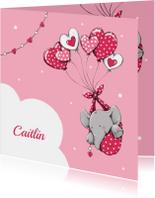 Geboortekaartjes - Geboorte olifant hart ballon -IH