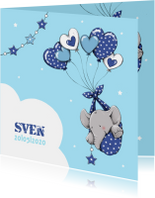Geboortekaartjes - Geboorte olifant hartballon - IH