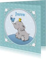 Geboortekaartjes - Geboorte olifantje vogel - IH