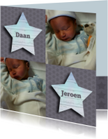 Geboortekaartjes - geboorte tweeling boy foto