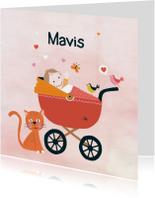 Geboortekaartjes - Geboortekaart babymeisje wagen