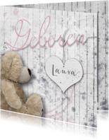 Geboortekaartjes - Geboortekaart beer en hart meisje