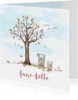 Geboortekaart boom, beren met veren, voor broertje of zusje