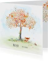 Geboortekaart hertje boom herfst