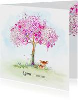 Geboortekaart hertje met boom-meisje