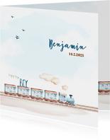 Geboortekaart jongen trein en vliegtuig
