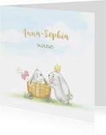Geboortekaart konijn met kuikens en vlinder - meisje