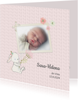 Geboortekaart meisje kabelpatroon
