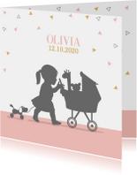 Geboortekaart meisje met kinderwagen av