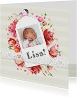 Geboortekaartjes - Geboortekaart met label, foto en bloemetjes