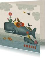 Geboortekaart met walvis, andere dieren en bloemen