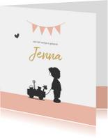Geboortekaart silhouet meisje en vlaggen