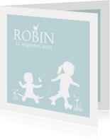 Geboortekaart silhouet skate zusje